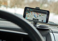 Gps application waze montreal canada march running on samsung s in a car is one of the most popular applications Royalty Free Stock Photos