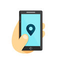 GPS location symbol. Map pointer Gps search city in smartphone concept. Phone in hand. Vector flat illustration icon. Isolated on Royalty Free Stock Photo