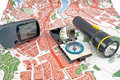 GPS, map, compass, Flashlight Stock Photography
