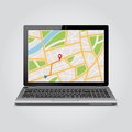 GPS map on display of modern notebook Royalty Free Stock Photo