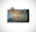 Gps map on a tablet illustration design over white background Stock Photography