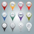 Gps markers set city infrastructure icons with pharmacy taxi bus tram isolated vector illustration Royalty Free Stock Photos