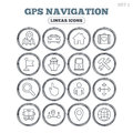 GPS navigation icon. Car, Bus and Ship transport. Royalty Free Stock Photo