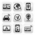 Gps navigation travel buttons set grey square navigate road map concept Stock Images