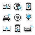 Gps navigation travel icons set black and blue labels with reflection navigate road map concept Royalty Free Stock Image