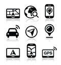 Gps navigation travel icons set modern black with reflection navigate road map concept Royalty Free Stock Images