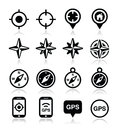 Gps navigation wind rose compass icons set travel location on white Stock Image