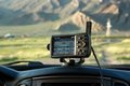 Gps navigator in car western mongolia mongolia aug is set to start recording road trip Stock Photography