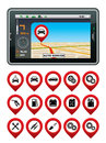 Gps navigator with the pointer autoservice vector gradient eps Royalty Free Stock Photo