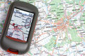 GPS and paper map Royalty Free Stock Photography