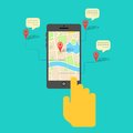 Gps service on mobile phone illustration of hand clicking map Royalty Free Stock Photos