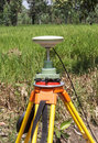 Gps surveying close up unit in field Stock Image