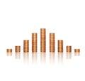 Gráfico del concepto del negocio pirámide de las monedas de oro Imagenes de archivo