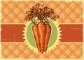 Grönsak för carrots vintage etikettbakgrund för design Royaltyfria Bilder