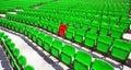 Grüne Sitzreihen Stockfotos