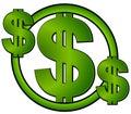 Grüner Dollar kennzeichnet innen einen Kreis Stockbilder