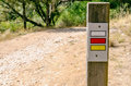 Gr and pr sign in a footpath short long route signal spain Stock Photos
