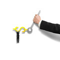 Grab on money sign clock hands with another holding Royalty Free Stock Photo