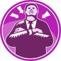 Grabar en madera negro de bouncer arms folded del hombre de negocios Imagen de archivo