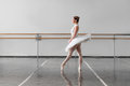 Grace ballerina keep the rack in ballet class Royalty Free Stock Photo