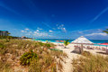 Grace bay beach dunes sand behind a stretch of the long providenciales turks and caicos islands Stock Photos