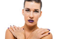 Graceful attractive woman with purple lips and nails portrait isolated Royalty Free Stock Photos
