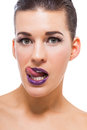 Graceful attractive woman with purple lips and nails portrait isolated Royalty Free Stock Photo