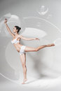 Graceful ballerina dancing in bubble Royalty Free Stock Photo