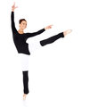 Graceful ballerina training in a black leotard and leggings practising her ballet positions over a white background Royalty Free Stock Photos