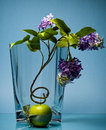 Graceful flower in glass vase with fruit on blue Royalty Free Stock Photos