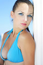 Graceful girl in blue swimsuit ashore epidemic deathes one Stock Photography