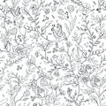 Graceful seamless floral pattern coloring page Royalty Free Stock Photo