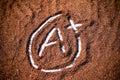 Grade A plus mark on cocoa powder Royalty Free Stock Photo
