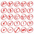 Grade results. Hand drawn vector set of grades with minuses and pluses. Royalty Free Stock Photo