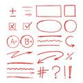 Grade school results markers hand drawn set Royalty Free Stock Photo