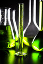 Graded test tube with green liquid Stock Photos