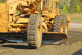 Grader land working the building pad of a new tennis court in roseburg oregon at stewart park Royalty Free Stock Photos