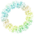 Gradient color round frame with shamrock contour. Raster clip ar