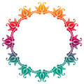 Gradient round frame with flowers