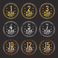 Gradient warranty badges vector illustration of metal Royalty Free Stock Photos
