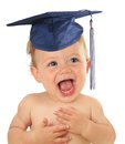 Graduate baby adorable ten month old wearing a graduation mortar board Stock Image