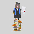 Graduate balck boy with diploma paper on a mountain of books