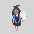 Graduate black woman with diploma paper and book