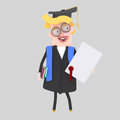 Graduate blonde man with diploma paper and book