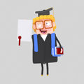 Graduate blonde man with diploma paper and book Royalty Free Stock Photo