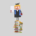 Graduate boy with diploma paper on a mountain of   books Royalty Free Stock Photo