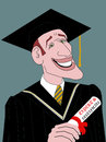 The graduate a caricature drawing of a man student graduating Royalty Free Stock Images