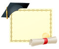 Graduate certificate background with copy space and scroll diploma and mortar board graduation cap Royalty Free Stock Image