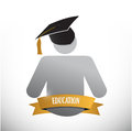Graduate education sign illustration design over white Royalty Free Stock Photo