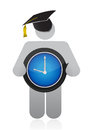 Graduate holding clock Royalty Free Stock Photo